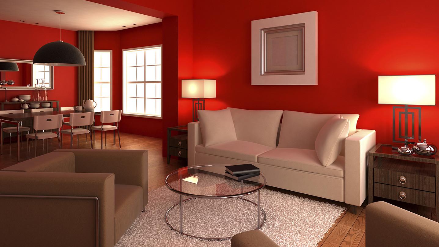 Pintar casa rojo Casas pintadas interior
